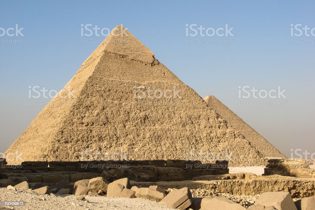 View of the Pyramids of Khafre and Khufu in Giza stock photo