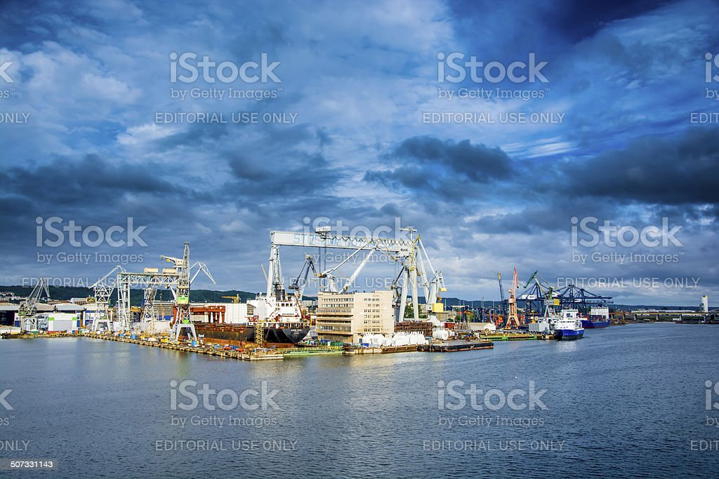View of the quay port and shipyard stock photo