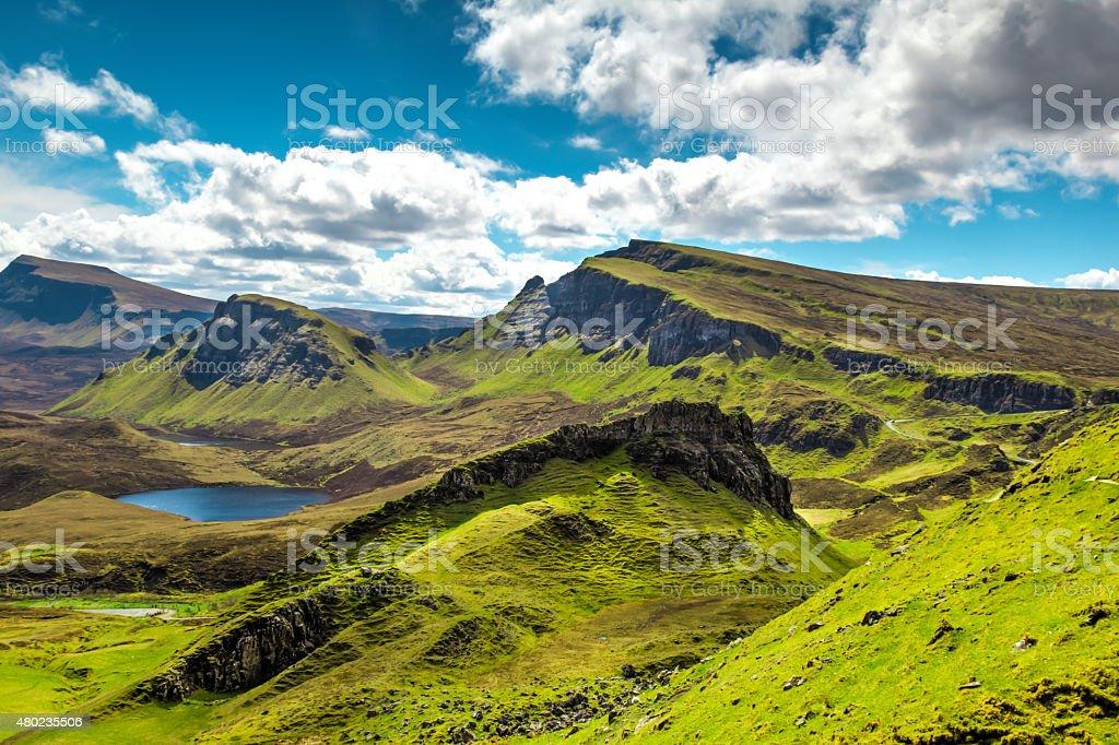 View of the Quiraing on Isle of Skye, Scotland. stock photo
