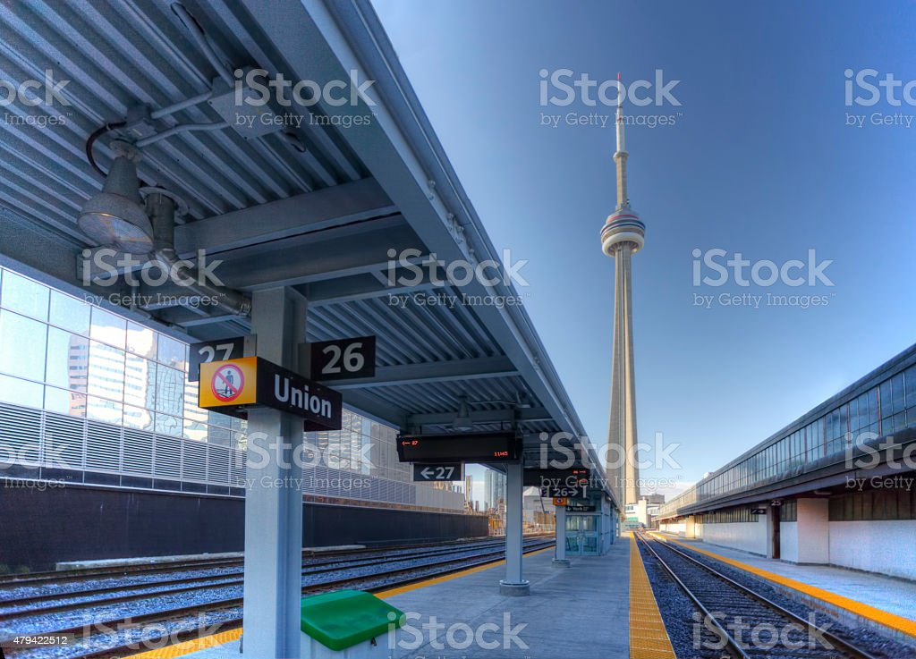 View of the rail lines in downtown Toronto stock photo