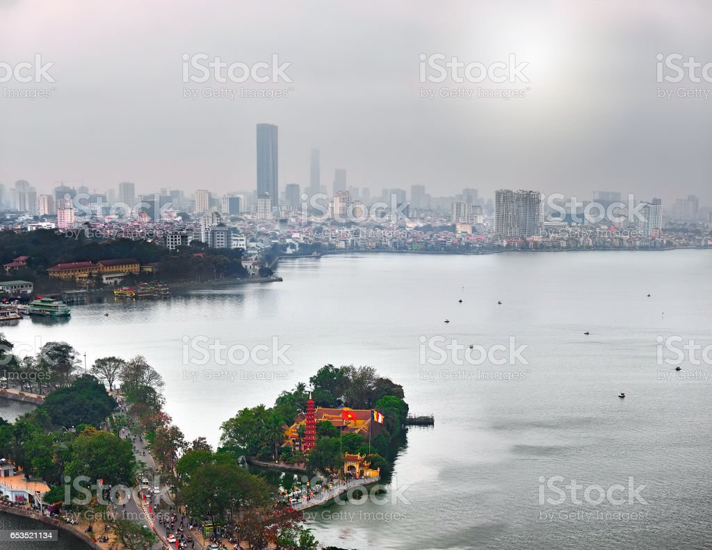View of the Red River (Hanoi, Vietnam) stock photo