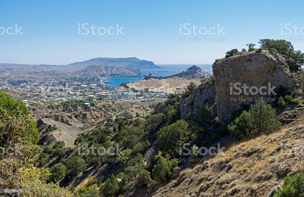 View of the resort town from a mountainside. Crimea, September. stock photo
