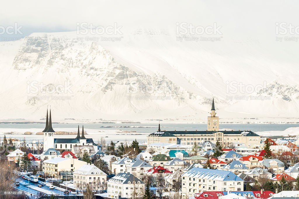 View of the  Reykjavik city and Mount Esja stock photo