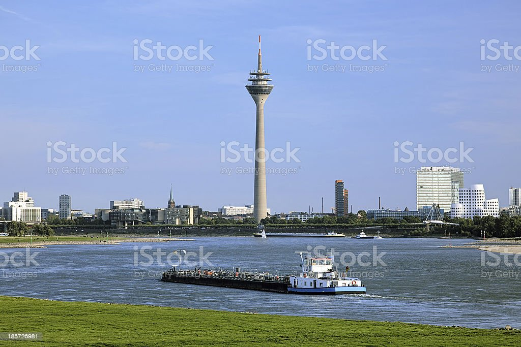 View of the Rheinturm TV tower in Dusseldorf, Germany royalty-free stock photo