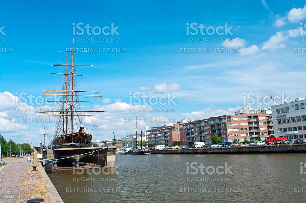 View of the River Aura in Turku, Finland. stock photo
