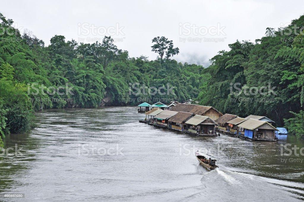 View of the River Kwai in Kanchanaburi stock photo