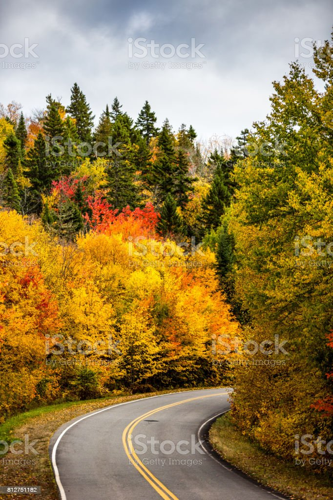 A view of the road in La Mauricie National Park situated in Canadian province of Québec. stock photo