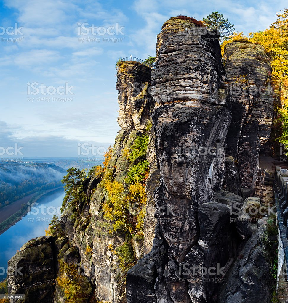 View of the rock formations in eastern Germany Bastei stock photo