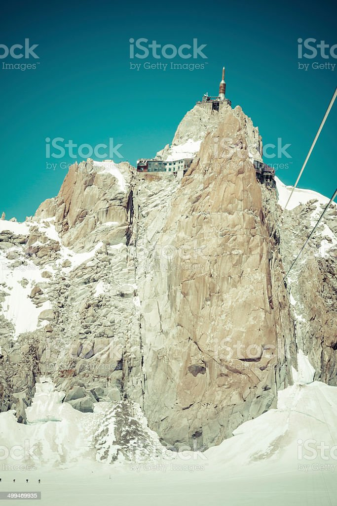View of the rock of Aiguille du Midi, mont-Blanc, France royalty-free stock photo