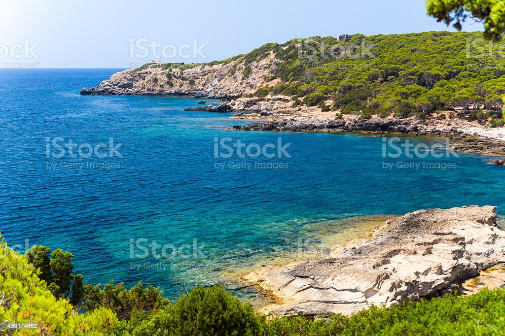 View of the rocky cliffs and clear sea stock photo