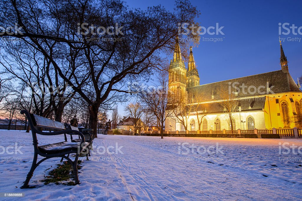 View of the Roman Catholic cathedral at night stock photo