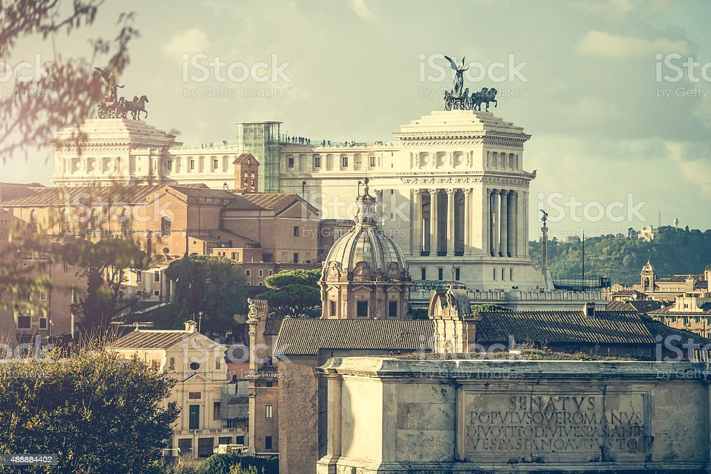 View of the Roman Forum in Rome stock photo
