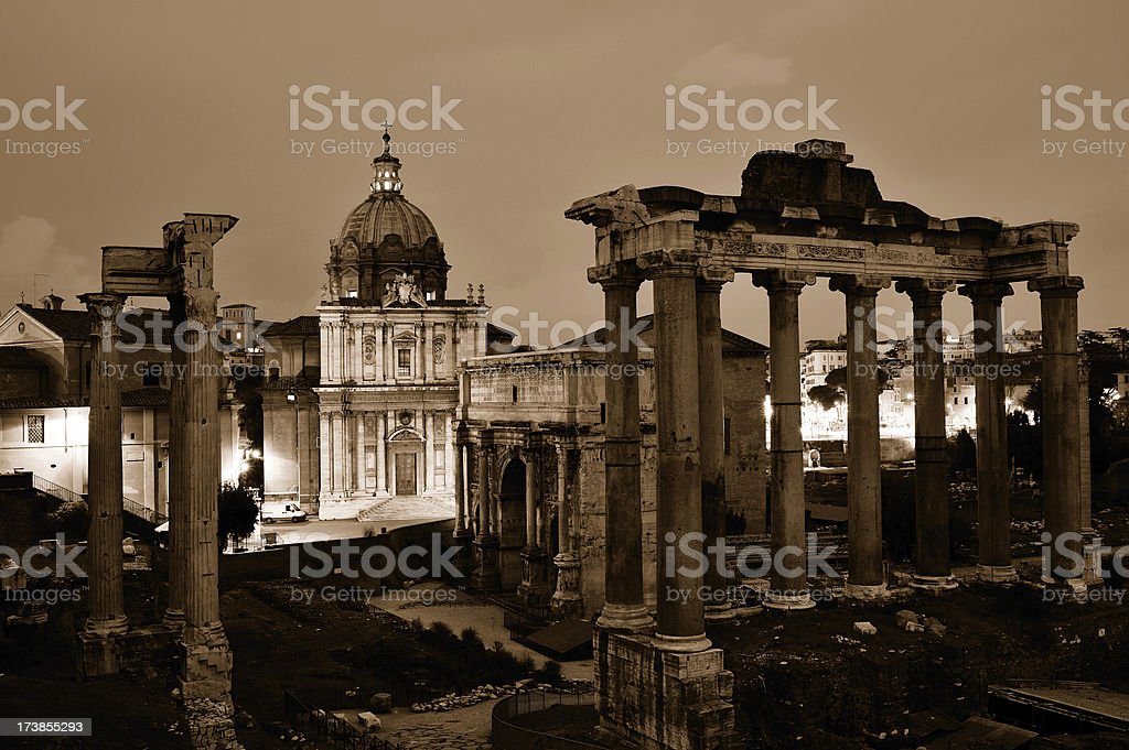 View of the Roman Forum in sepia royalty-free stock photo