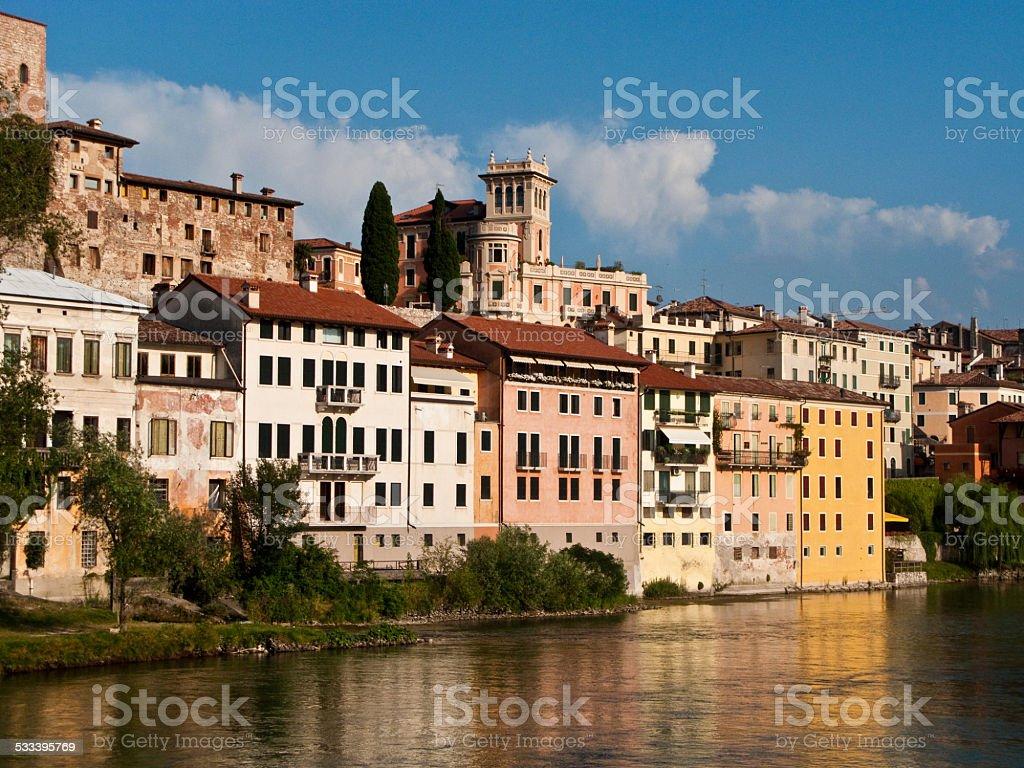 view of the romantic village Basano del Grappa stock photo