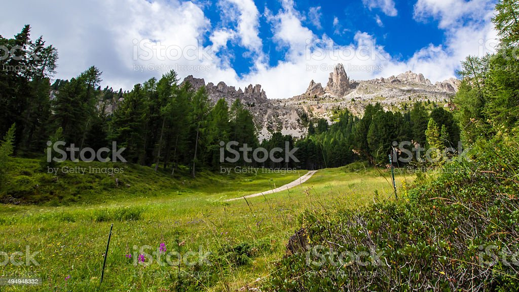 view of the Rosengarten group in the Dolomites, Italy stock photo