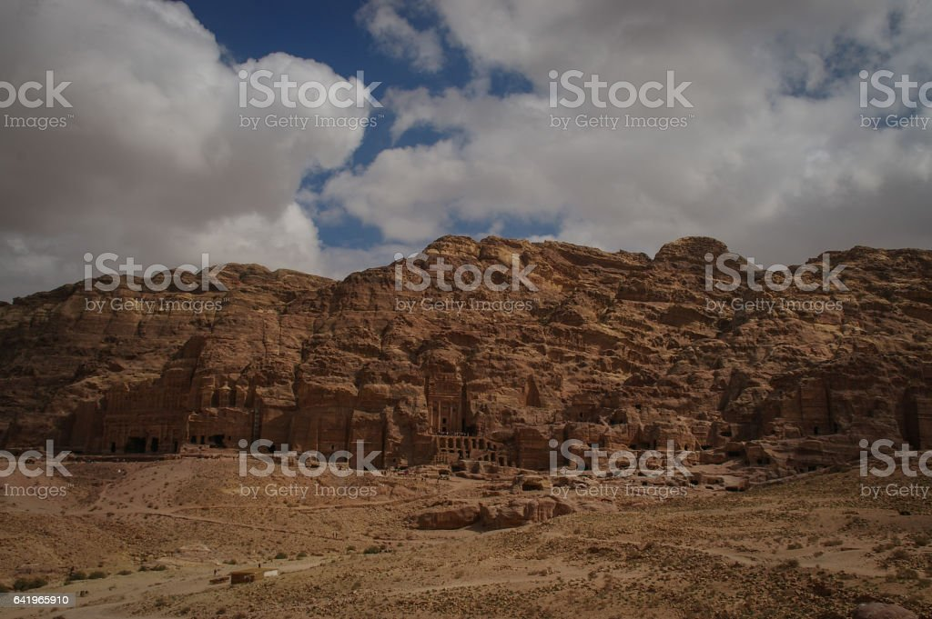 View of the Royal Tombs in Petra, Jordan stock photo
