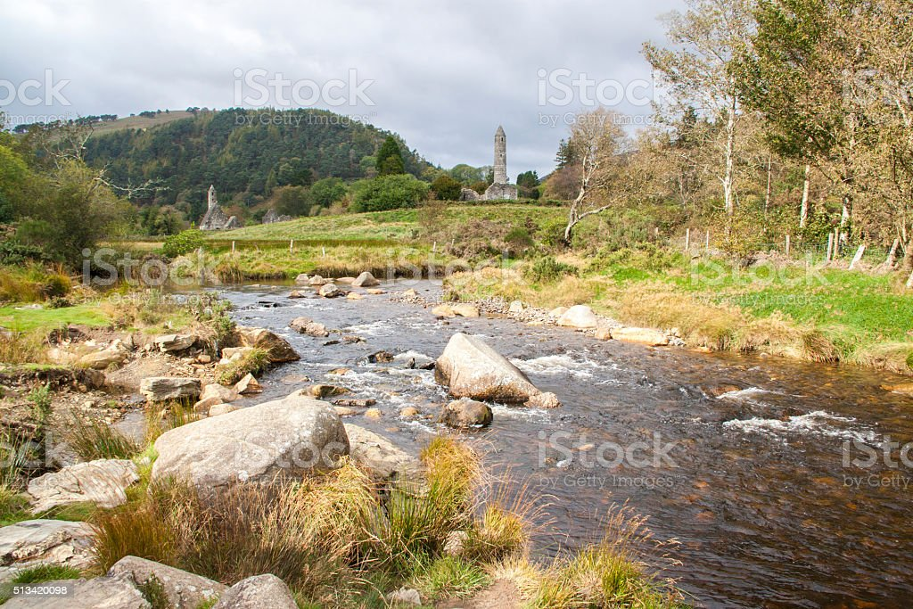 View of the ruins of Glendalough, Ireland stock photo