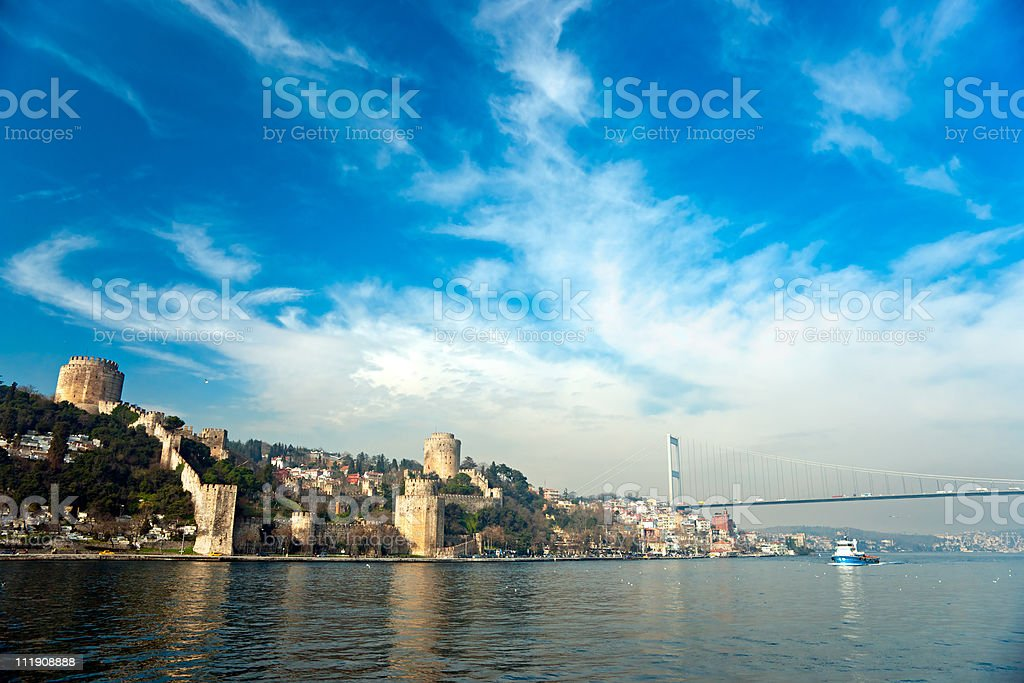 View of the Rumeli Fortress on the water in Istanbul royalty-free stock photo