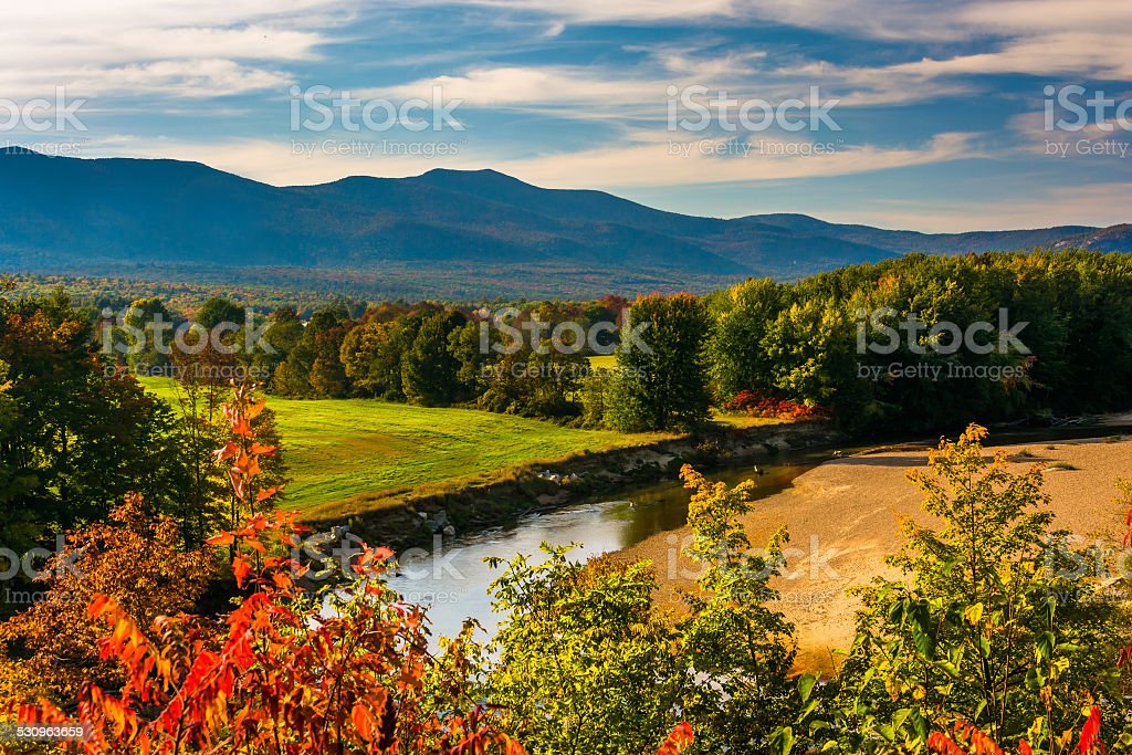 View of the Saco River in Conway, New Hampshire. stock photo
