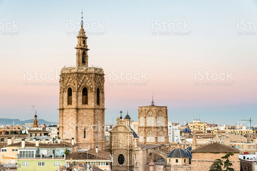 View of the Saint Mary's Cathedral of Valencia. Spain stock photo