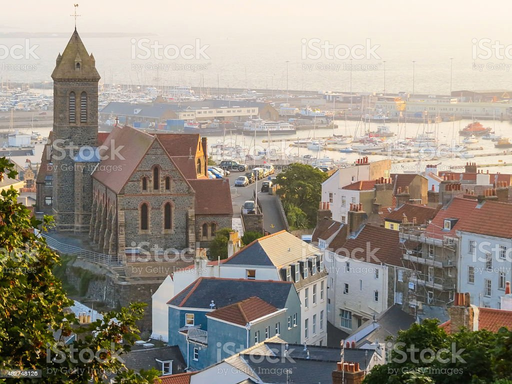 View of the Saint Peter Port and marina stock photo