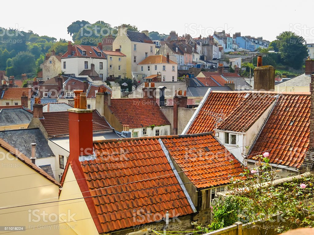 View of the Saint Peter Port, Bailiwick of Guernsey stock photo