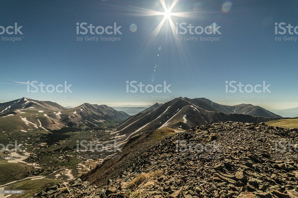View of the Sawatch Range in the Colorado Rocky Mountains stock photo