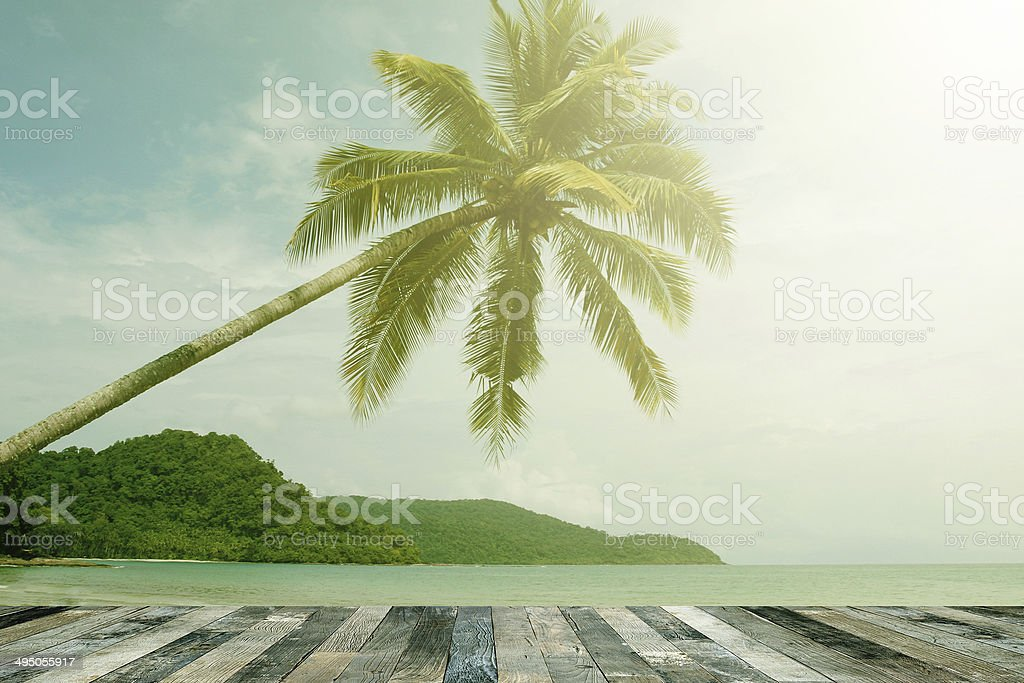 View of the sea above a wooden floor stock photo