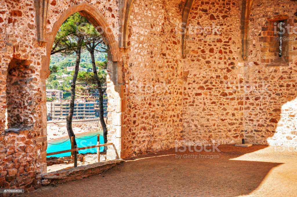 View of the sea from the ruins of the old church. Remnants of Gothic Church. SPAIN. Tossa de Mar. Costa Brava. Catalonia. stock photo