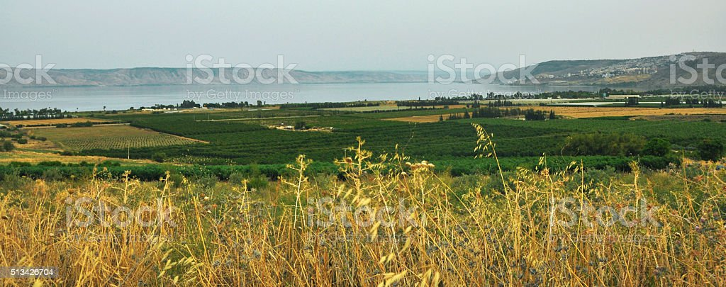 View of the Sea of Galilee , Kinneret, Israel stock photo