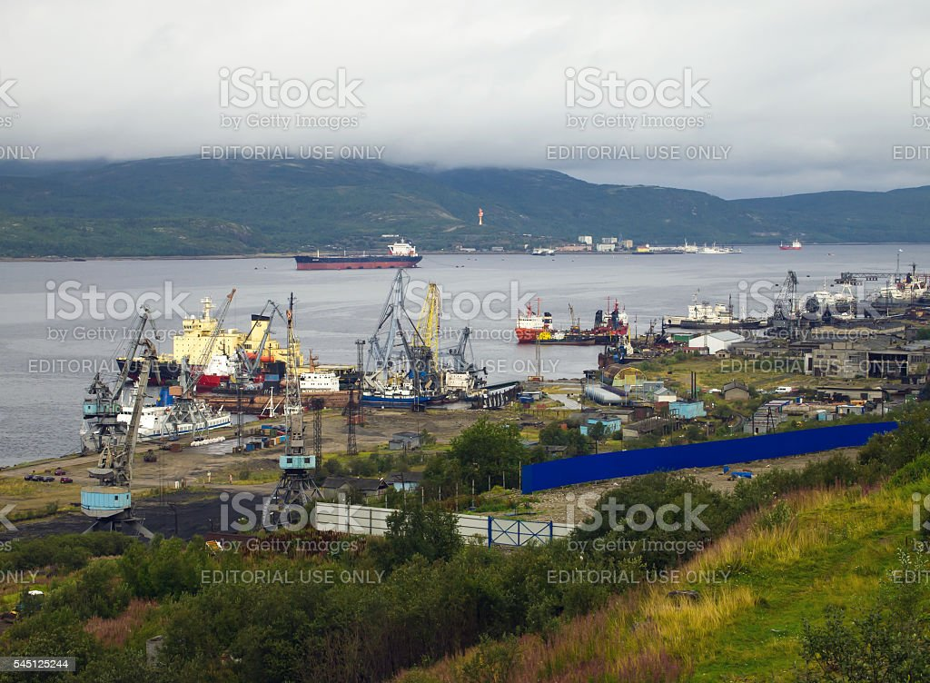 View of the  sea port of Murmansk and Kola Bay stock photo