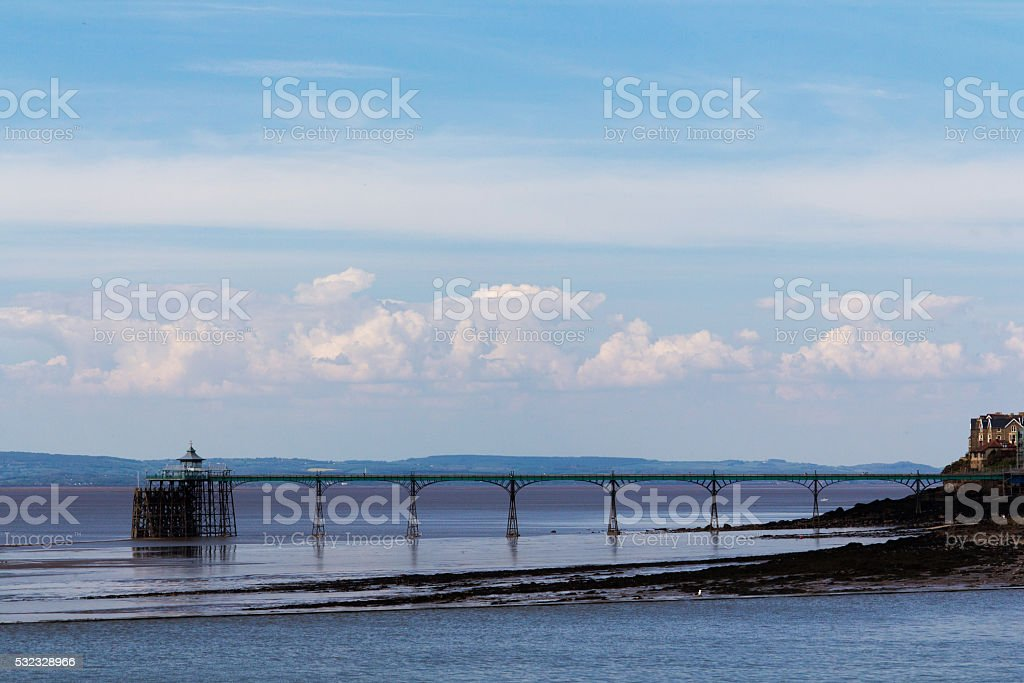 View of the seafront at Clevedon, England. Including the pier. stock photo