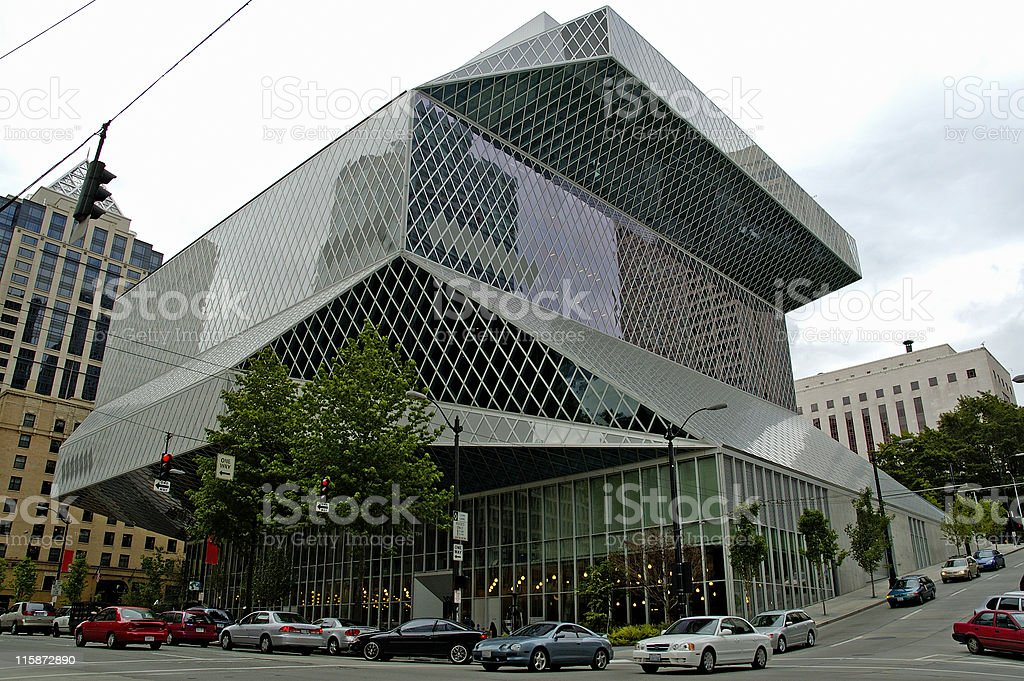 View of the Seattle Public Library (Main Branch) stock photo
