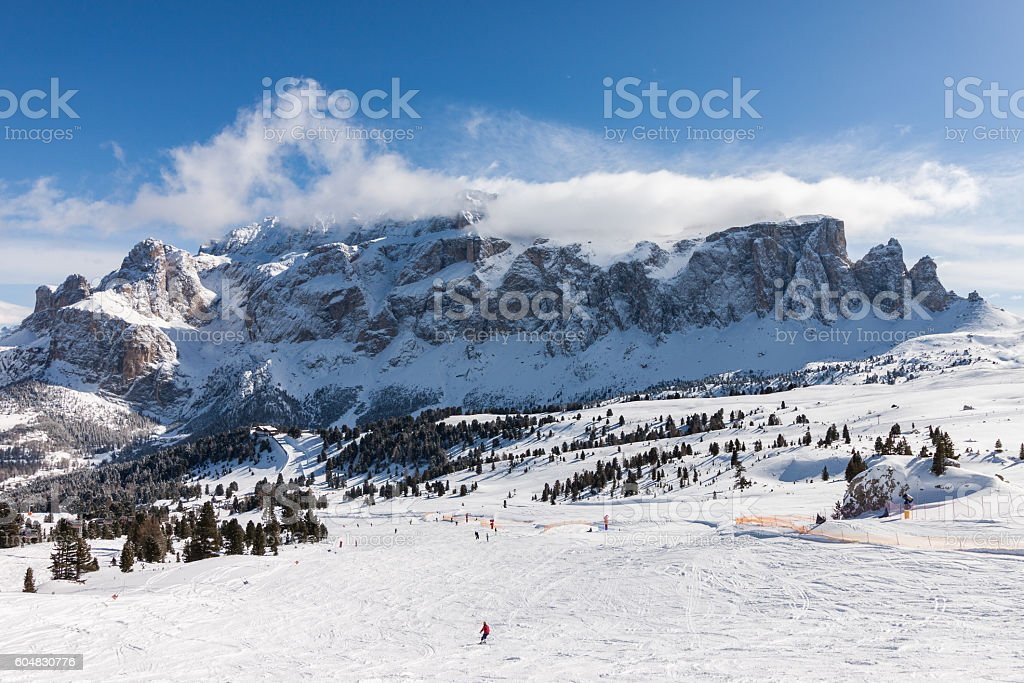View of the Sella Group from the ski area stock photo