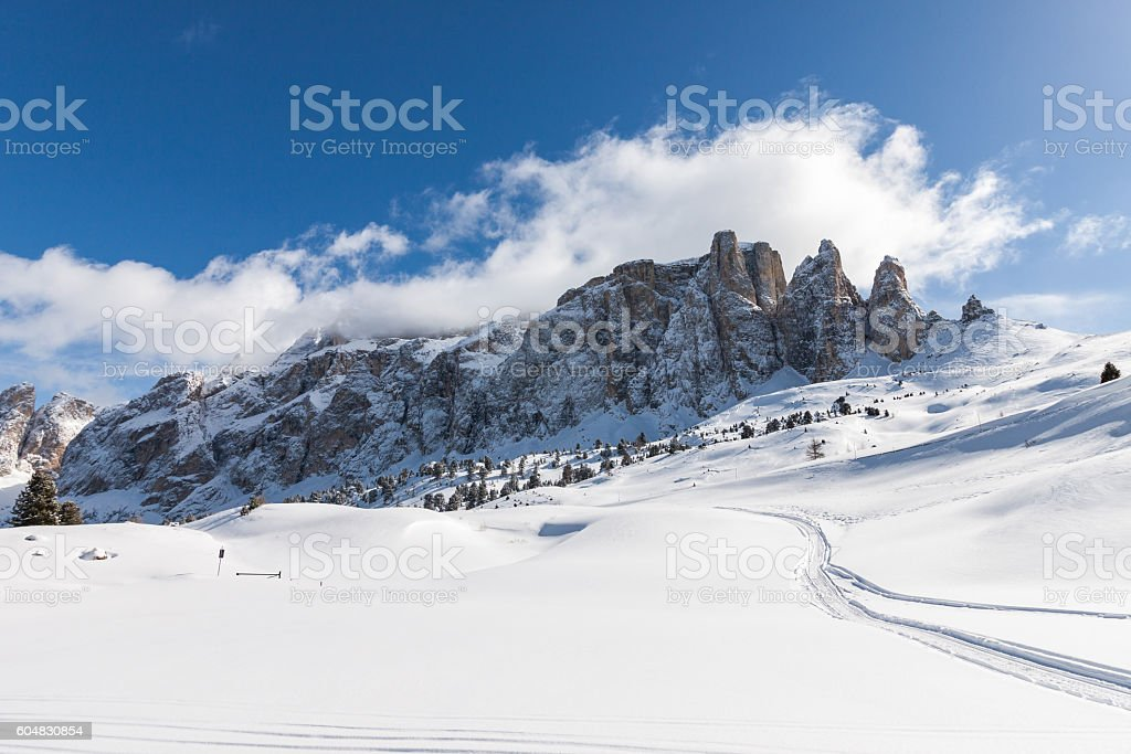 View of the Sella Group in the Italian Dolomites stock photo