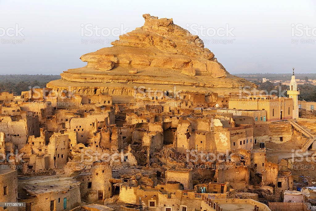 View of the Shali Fortress in Siwa Oasis stock photo