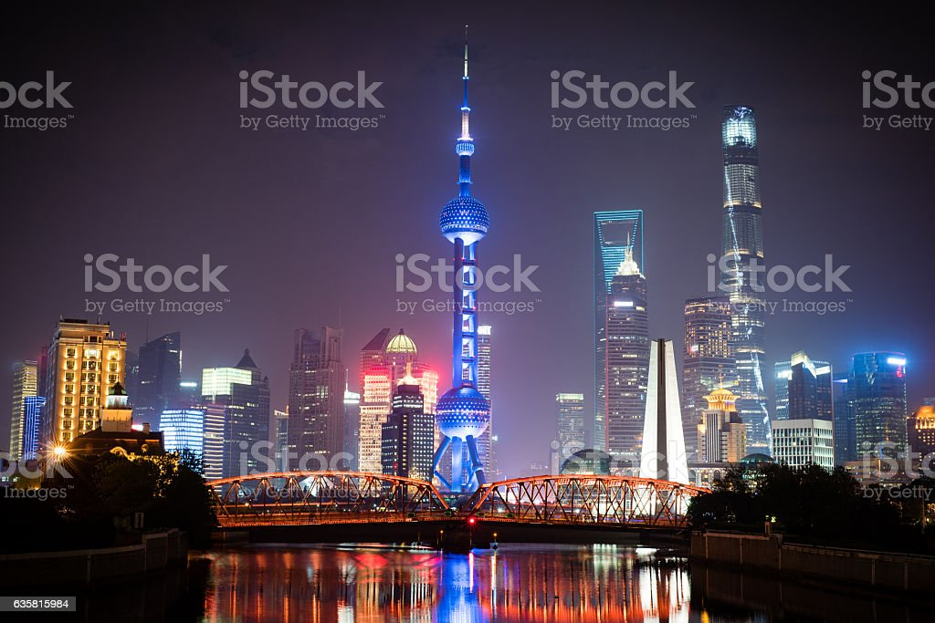 View of the Shanghai Skyline from Suzhou Creek stock photo