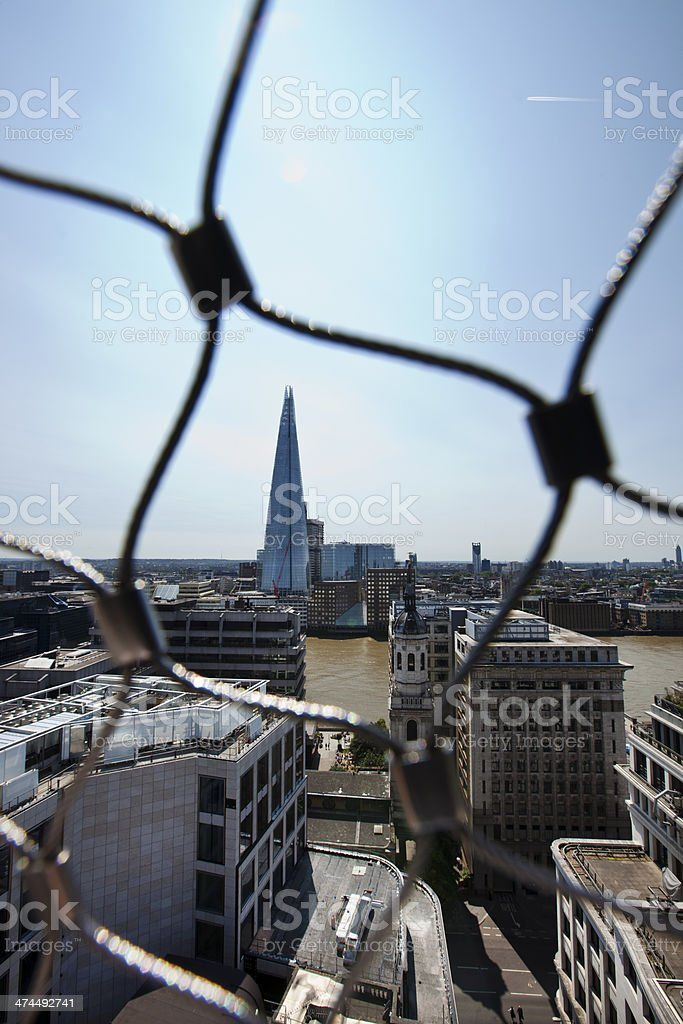 View of the Shard, London behind wire net royalty-free stock photo