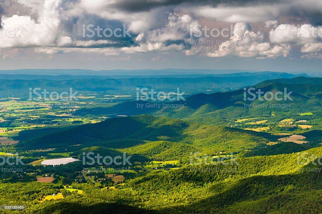 View of the Shenandoah Valley from Stony Man Mountain, Shenandoa stock photo