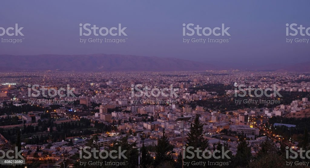 View of the Shiraz city from the surrounding hills. Iran stock photo