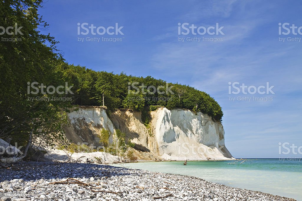 View of the shore on a beautiful day with clear blue sky's stock photo
