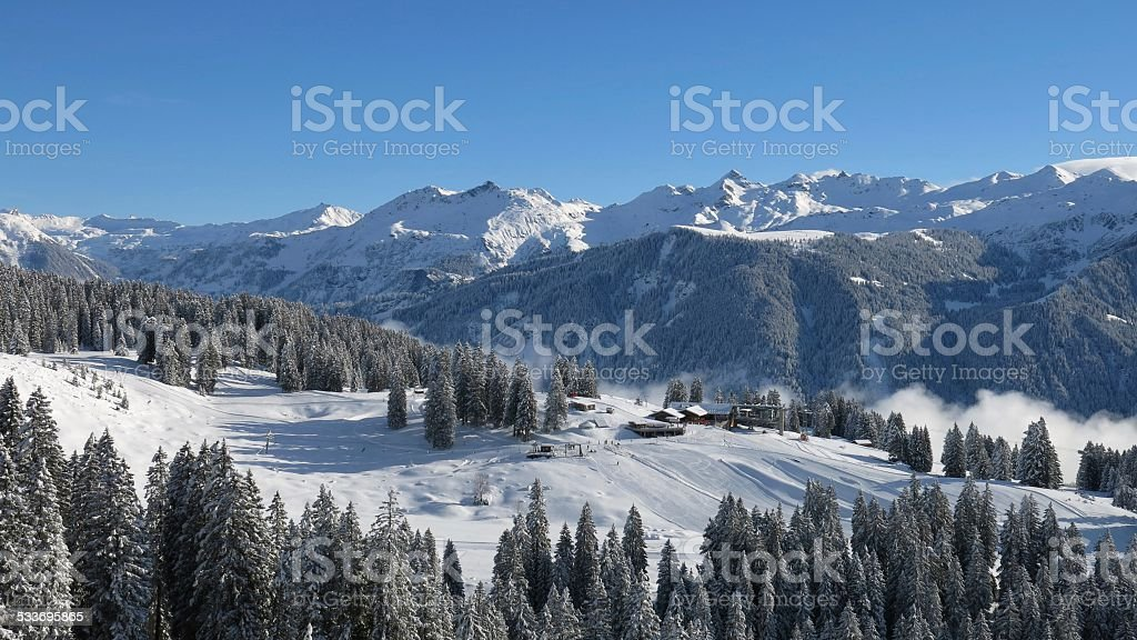 View of the ski area Braunwald stock photo