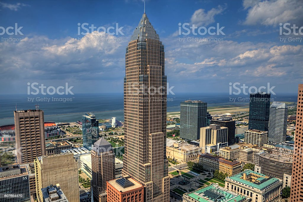 View of the skyline of Cleveland stock photo