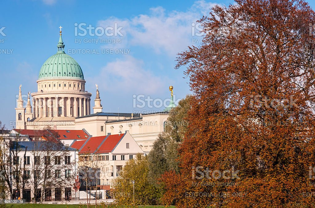 View of the skyline of Potsdam, from the Freundschaftsinsel stock photo