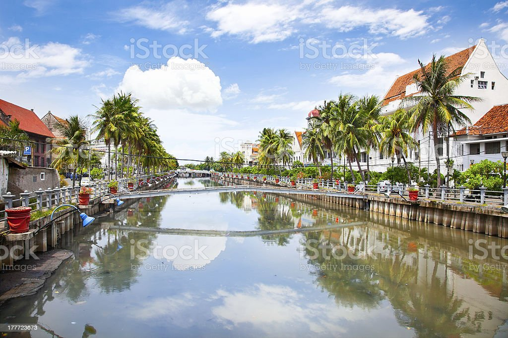 View of the Smelly River in Java, Indonesia stock photo