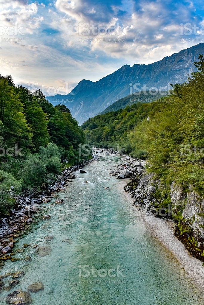 View of the Soča river, Slovenia, during the golden hour stock photo