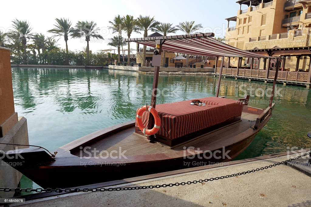 View of the Souk Madinat Jumeirah and abra boat stock photo