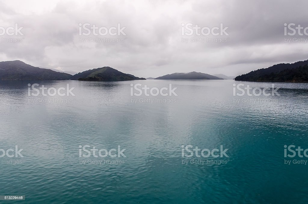 View of the sounds in Queen Charlotte Road, New Zealand stock photo