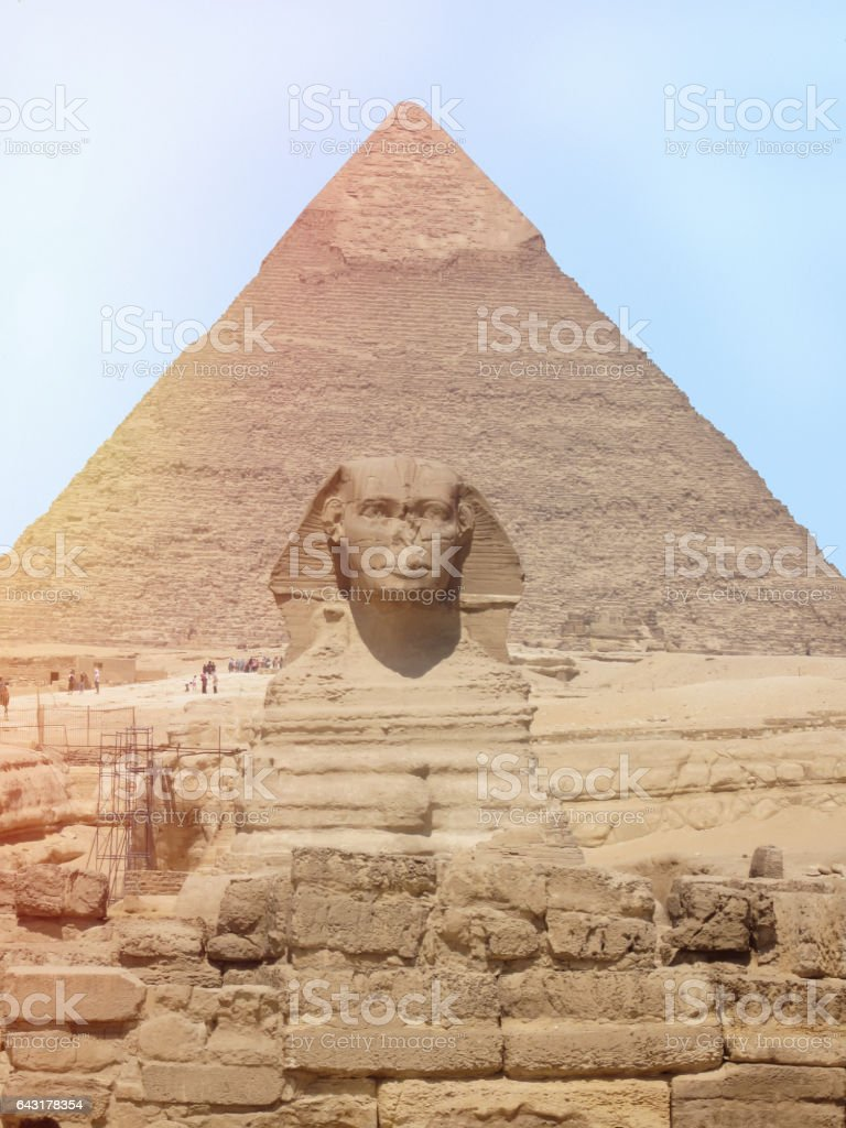 View of the Sphinx head with pyramid in Giza near Cairo, Egypt stock photo