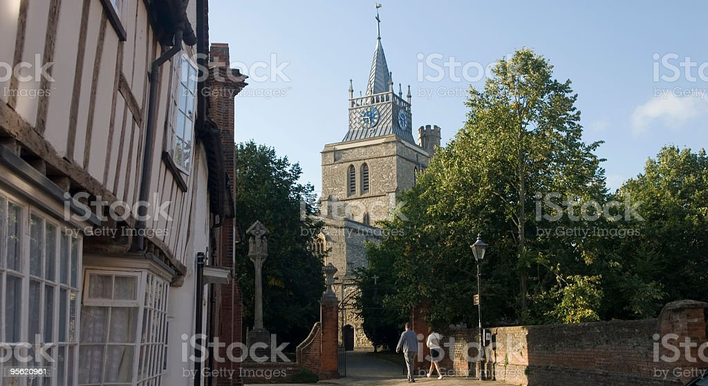 View of the spire of St Mary's church stock photo
